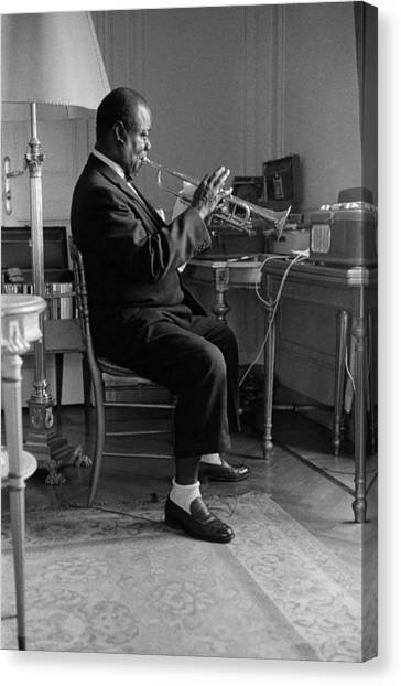 Louis Armstrong In 1959 Canvas Print by Giancarlo Botti