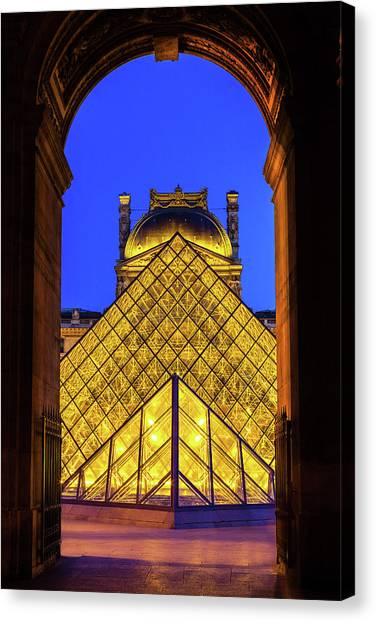 Louvre Framed Canvas Print by Andrew Soundarajan