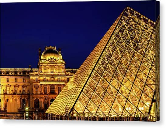 Parisian Canvas Print - Louvre Illuminated by Andrew Soundarajan
