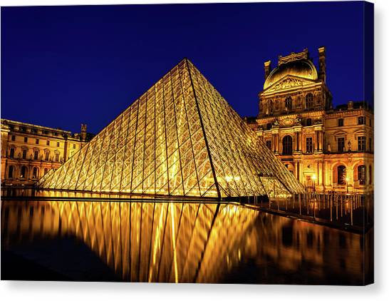 Parisian Canvas Print - Louvre Reflections by Andrew Soundarajan
