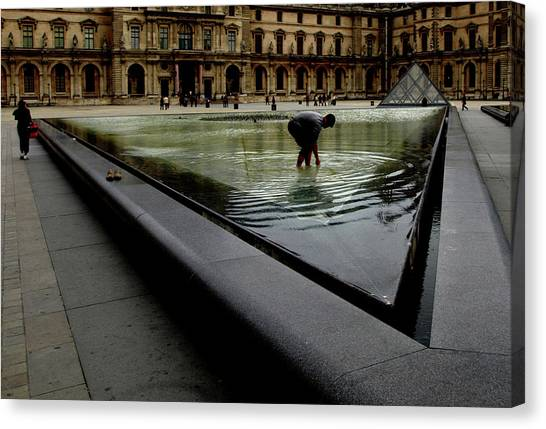 Louvre, Water Canvas Print