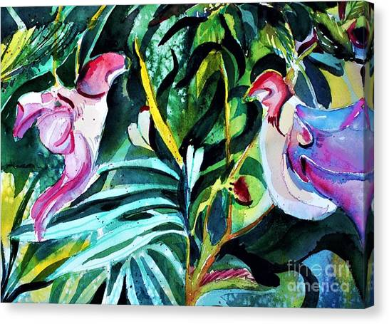 Canvas Print - Love Bird Parrot Orchids by Mindy Newman
