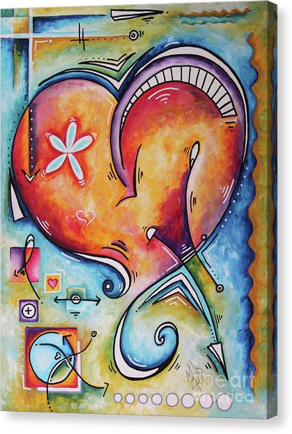 Canvas Print - Love Eternal Original Acrylic Heart Love Painting By Megan Duncanson  by Megan Duncanson