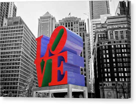 Canvas Print featuring the photograph Love In The City - Philadelphia In Black And White With Selective Color by Bill Cannon