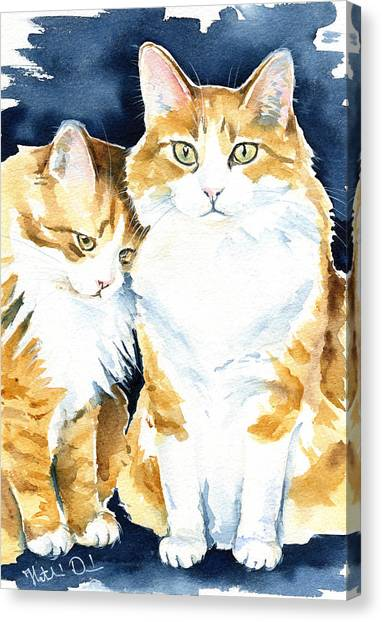 Love Me Meow Cat Painting Canvas Print