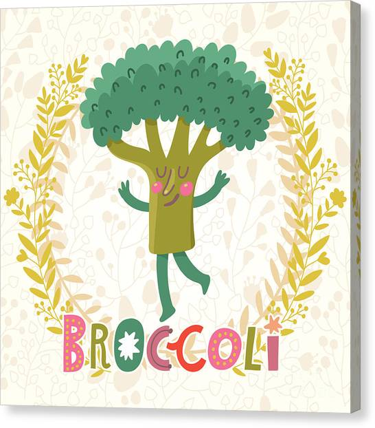 Fitness Canvas Print - Lovely Broccoli In Funny Cartoon Style by Smilewithjul