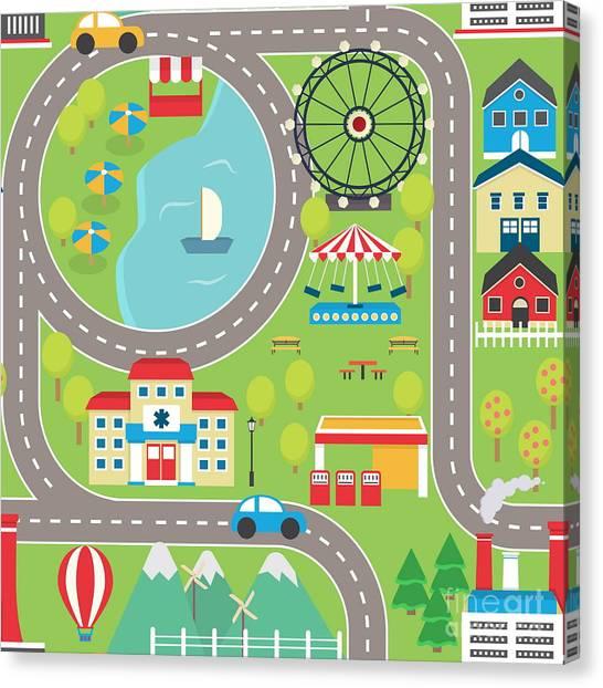 Lovely City Landscape Car Track Canvas Print by Medejaja