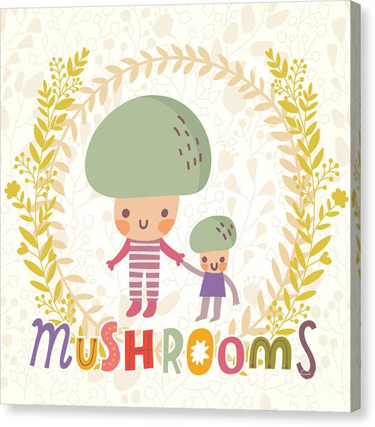 Fitness Canvas Print - Lovely Mushroom In Funny Cartoon Style by Smilewithjul