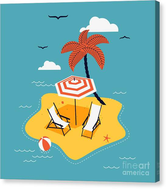 Seagull Canvas Print - Lovely Vector Abstract Island Paradise by Mascha Tace