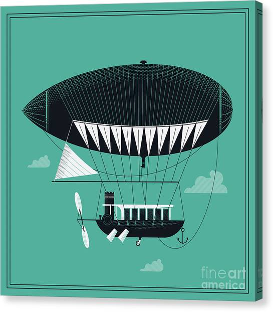 Lovely Vector Airship Illustration | Canvas Print by Mascha Tace