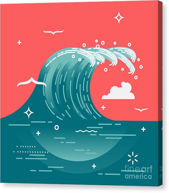 Seagull Canvas Print - Lovely Vector Background On Large Ocean by Mascha Tace