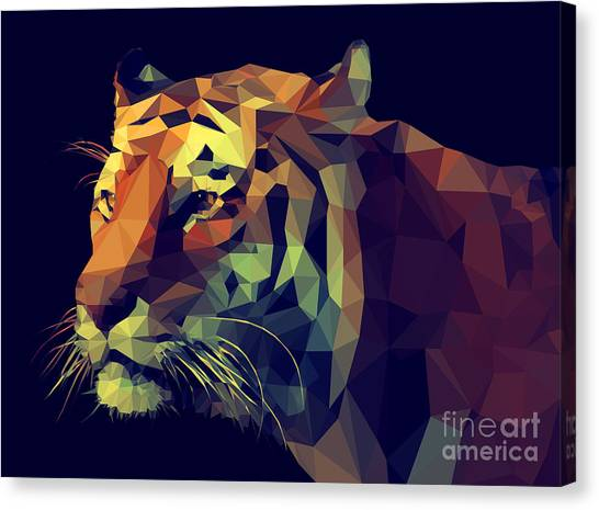 Realistic Canvas Print - Low Poly Design. Tiger Illustration by Kundra