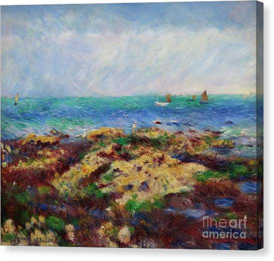 State Hermitage Canvas Print - Low Tide At Yport by Peter Barritt