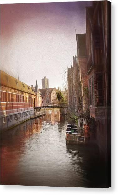 Gent Canvas Print - Low Winter Sun Ghent Belgium by Carol Japp