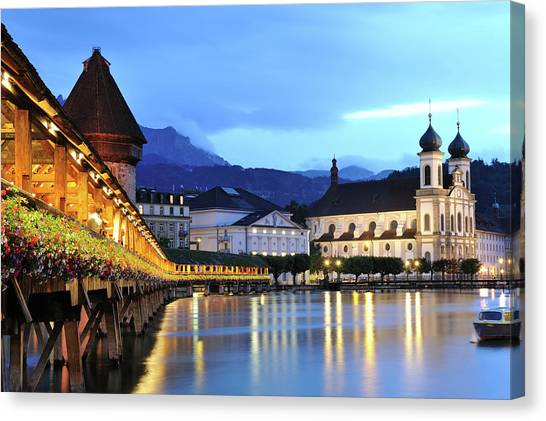 Lucerne At Dusk Canvas Print by Aimintang