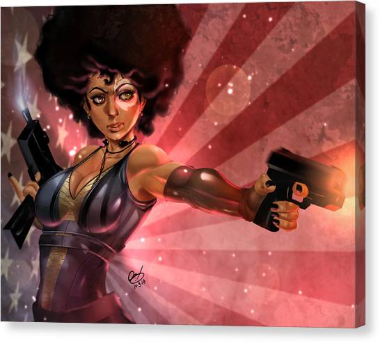 Canvas Print featuring the painting Lucky Domino by Pete Tapang