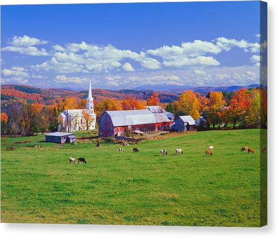 Lush Autumn Countryside In Vermont With Canvas Print