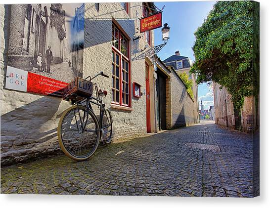 Canvas Print featuring the photograph Lux Cobblestone Road Brugge Belgium by Nathan Bush