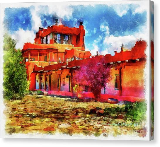 Mabel's Courtyard In Aquarelle Canvas Print