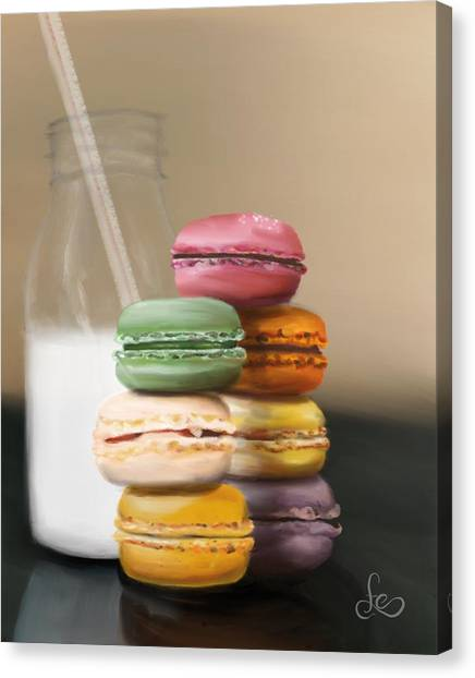 Canvas Print featuring the pastel Macaroons  by Fe Jones