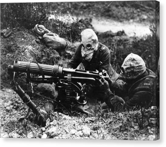Machine Gunners Canvas Print by General Photographic Agency