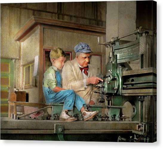 Canvas Print featuring the photograph Machinist - Spending Time With Grandpa 1921 by Mike Savad