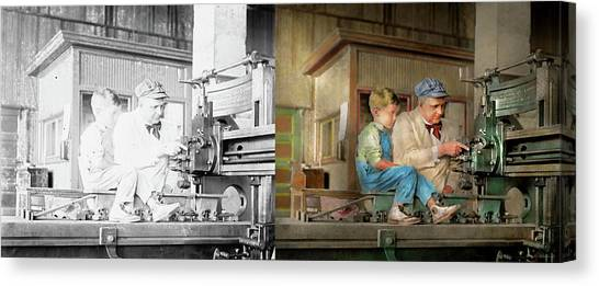 Canvas Print featuring the photograph Machinist - Spending Time With Grandpa 1921 - Side By Side by Mike Savad