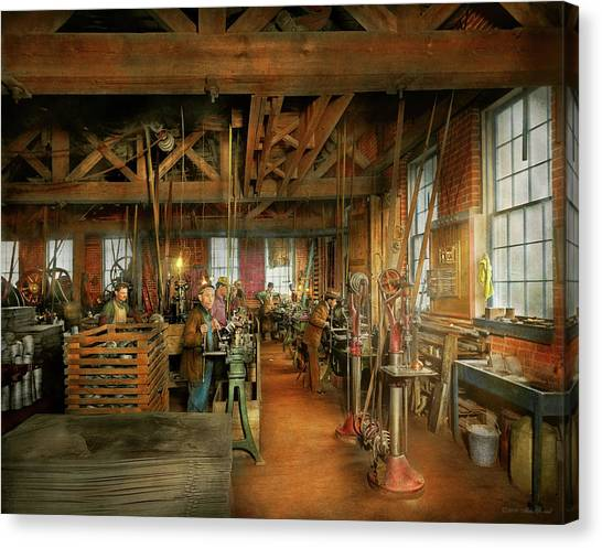 Canvas Print featuring the photograph Machinist - The Glazier Stove Company 1900 by Mike Savad