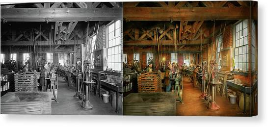 Canvas Print featuring the photograph Machinist - The Glazier Stove Company 1900 - Side By Side by Mike Savad