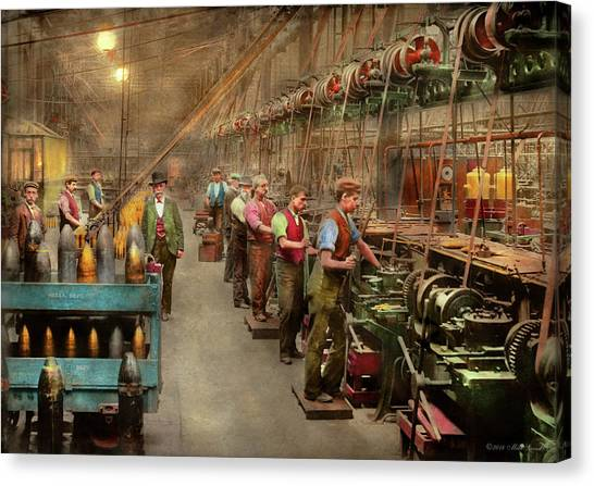 Canvas Print featuring the photograph Machinist - War - The Shell Dept 1900 by Mike Savad