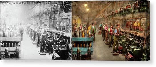 Canvas Print featuring the photograph Machinist - War - The Shell Dept 1900 - Side By Side by Mike Savad