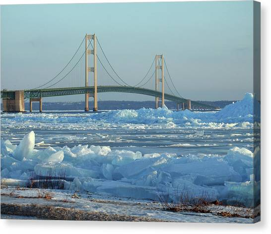 Mackinac Bridge In Ice 2161801 Canvas Print
