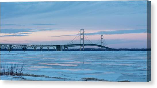 Mackinac Bridge In Ice 2161803 Canvas Print