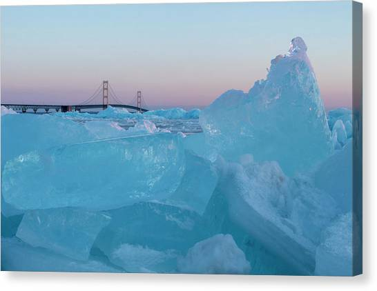 Mackinac Bridge In Ice 2161805 Canvas Print
