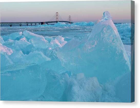 Mackinac Bridge In Ice 2161806 Canvas Print