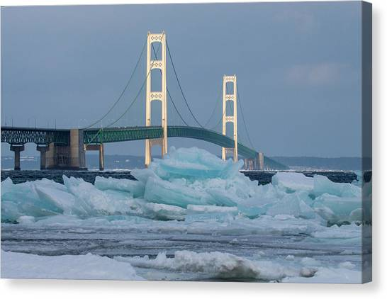 Mackinac Bridge In Ice 2161809 Canvas Print