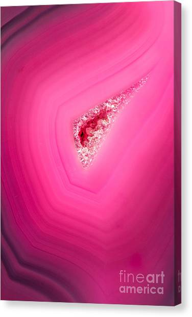 Change Canvas Print - Macro Of A Beautiful Pink Stone Cut And by Wollertz