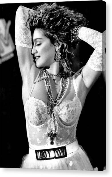 Madonna During A Performance At Mtv Canvas Print by New York Daily News Archive