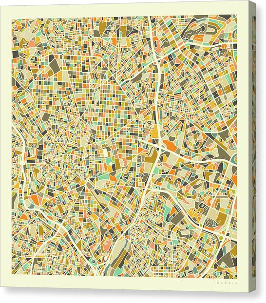 Spain Canvas Print - Madrid Map 1 by Jazzberry Blue