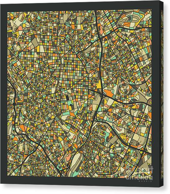 Spain Canvas Print - Madrid Map 2 by Jazzberry Blue
