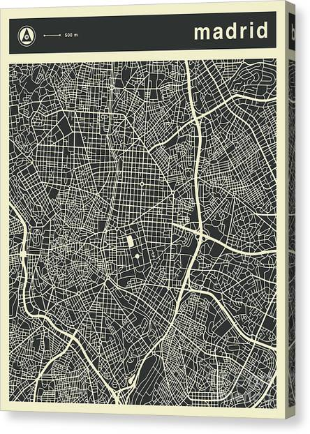 Spain Canvas Print - Madrid Map 3 by Jazzberry Blue