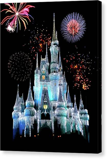Medieval Canvas Print - Magic Kingdom Castle In Frosty Light Blue With Fireworks 06 by Thomas Woolworth