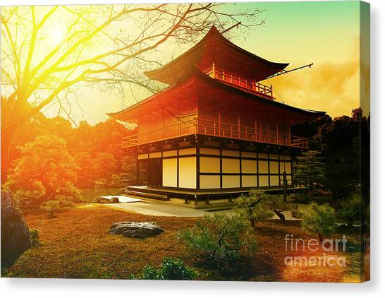 Worship Canvas Print - Magical Sunset Over Kinkakuji Temple by Vvvita