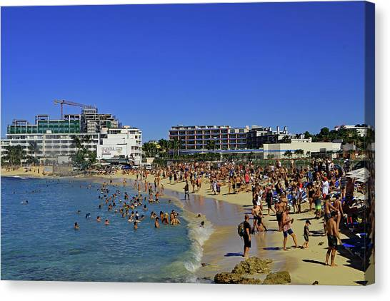 Canvas Print featuring the photograph Maho Beach by Tony Murtagh