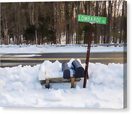 Buried Canvas Print - Mailboxes Covered In Snow 2 by Jeelan Clark
