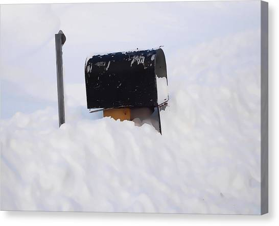 Buried Canvas Print - Mailboxes Covered In Snow 3 by Jeelan Clark