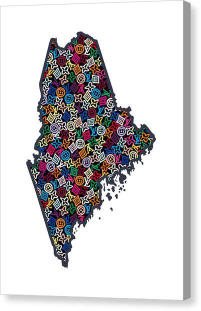Augusta Canvas Print - Maine Map - 1 by Nikita