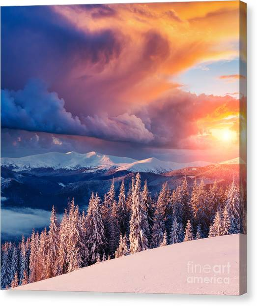 Hoarfrost Canvas Print - Majestic Landscape Glowing By Sunlight by Creative Travel Projects