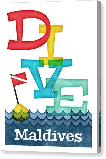 Scuba Diving Canvas Print - Maldives Dive - Colorful Scuba by Flo Karp