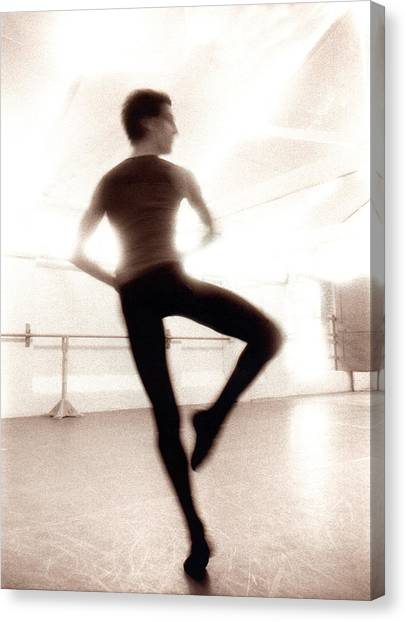 Male Ballet Dancer Practicing In Dance Canvas Print by Ade Groom